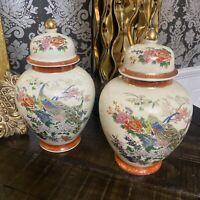 Set Of 2 Oriental Japan Satsuma Porcelain Ginger Jar Peacock Cherry Blossom 8.5