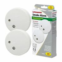 2 x KIDDE LIFESAVER Smoke Detectors Fire Alarm Ionisation Batteries Included
