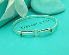 "Tiffany & Co. RARE 18Ct Yellow Gold and Silver Hook Eye Bangle 6.75"" Bracelet"