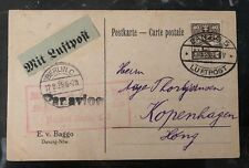 1925 Free City Danzig Early Airmail Postcard Cover to Copenhagen Denmark Berlin