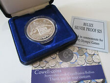 1992 ROYAL MINT SILVER PROOF BELIZE $25 SPANISH OLYMPIC GAMES  COIN BOX + COA