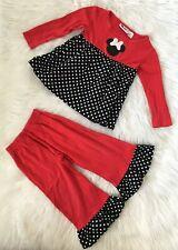 Smock A Dot Kids Girls Size 4T Red W/ Black Polka Dot L/S 2Pc Ruffle Outfit