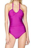 Calvin Klein Women Swimwear Purple Size 14 Twist Halter Ruched Swimsuit $118 634