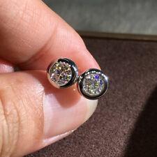 925 Silver Elegant Round White Topaz AAA Zircon Earrings Womens Ear Stud Earring