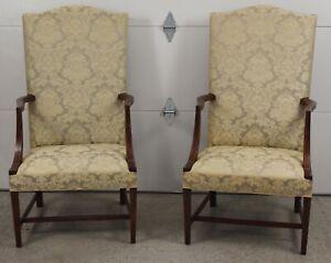 Pair of Kittinger Williamsburg Mahogany Lolling Chairs Damask Fabric CW 13