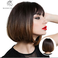 Short Bob Hair Wigs for Women Ombre Brown Blonde Cosplay Party Daily Natural Wig