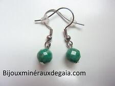 Handmade 12 mm Light Green Aventurine Jade Perles rondes Silver Leverback Boucles D/'oreilles