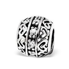 925 Sterling Silver Heart Filigree Gem Round Decorative Bracelet Charm Bead B536