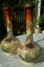 More details for pair of antique victorian hand painted hand enamelled vases ~ 11.5