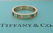 Tiffany & Co 18K Rose Gold Diamond Atlas Pierced Wedding Ring / Band Rtl $975