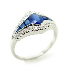 18K White Gold Ring with Sapphire and Diamonds