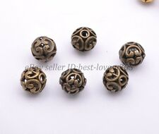Tibetan Silver Round Shaped Heart Hollow Charm Spacer Beads Findings 12MM BE3000