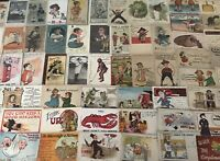 BIG ~LOT OF 100~1900s ANTIQUE~COMIC HUMOR funny~POSTCARDS-All In Sleeves-c153