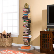Tampa Spine Book Tower Durable Painted Metal Silver Coated Bookshelf Storage
