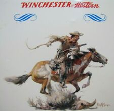 WINCHESTER WESTERN Sign Cowboy Horseback Rifle Old TOC Store Display Advertising
