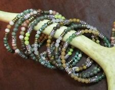 5 Memory Wire Bracelets: 3mm- 4mm stone/gemstone beads, w/ metal- Random Lots