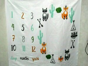 Meslio Baby Photo Prop Sheet Monthly Milestone Backdrop Southwest Fox Cactus
