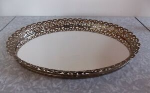 Vtg MCM Hollywood Regency Oval Mirrored Vanity Dresser Perfume Tray Gold Frame