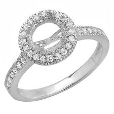 14K White Gold Diamond Ladies Semi Mount Bridal Engagement Ring 1/3 CT Size 5