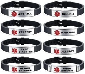 Medical Alert Bracelets Stainless Steel Adjustable Strap Survival Awareness Band