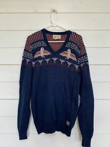 Denim and supply Ralph Lauren knitted Jumper V Neck Size M vintage Blue Wool