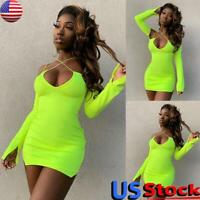 Sexy Womens V-Neck Bodycon Mini Dress Ladies Cocktail Party Clubwear Hip Dress