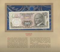 Most Treasured Banknotes Turkey 50 Lirasi 1970 UNC P 188a.1 UNC Low # 004432