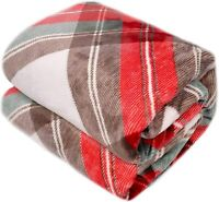 Throw Sherpa Flannel Fleece Blanket Extra Soft Reversible 50×60 Plush Fabric Red