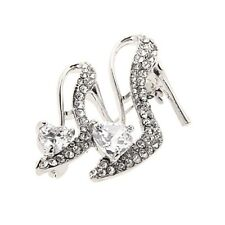 Women Broaches Crystal Rhinestone High Heeled Shoes Brooch Pin Party Accessories White
