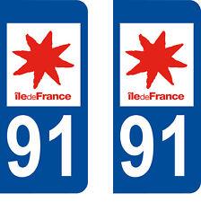 Département 91 sticker 2 autocollants style immatriculation AUTO PLAQUE