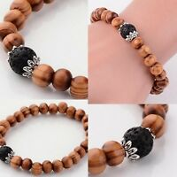 Natural Lava Bead & Wood Aromatherapy Diffuser Scent Bracelet Yoga Essential Oil