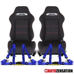 Reclinable Black Cloth Red Stitch Racing Seats+Blue 4-Point Belts Harnesses