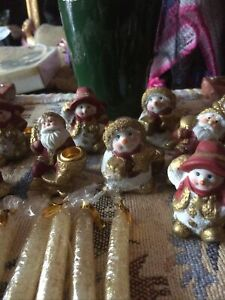 CHRISTMAS CANDLES AND HOLDERS X12. SNOWMAN FATHER CHRISTMAS NEW