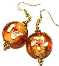 Large Gold Amber White Earrings Drop Dangle Lampwork Glass Beads Pierced Hooks