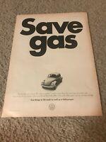 "Vintage 1973 VOLKSWAGEN VW BEETLE BUG CAR Print Ad ""SAVE GAS"" 1970s"