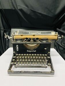 Rare Imperial Large Cork Carriage Typewriter Glass Intact