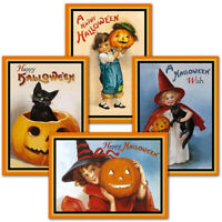 NEW Set 8  Victorian Style Halloween Greeting Cards 2 each 4 Designs w/Envelopes