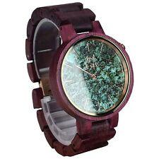 Armbanduhr aus Holz & Stein, Holzuhr | Damen | Holz: Amarant | gravierbar