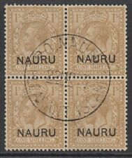 More details for sg 12 nauru 1916-23 1/- bistre brown block of 4 cancelled with a nauru island cd
