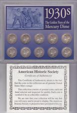 1930s Silver USA American Mercury Dime Coins in Case + COA