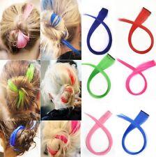 HOT Punk Fluorescent Color Gradient Streaked Dyeing Hair Piece Wig Clip Hairwear