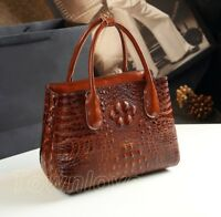 Womens Luxury Genuine Leather Crocodile Embossed Shoulder Bag Handbag Tote Purse