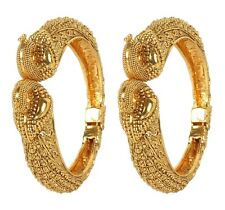 Indian Bollywood Gold Plated Tone Indian Polki Peacock Bangles Set For women