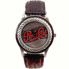 Pepsi Cola Logo Dial Fossil Made, Mens Leather Band Watch, Great Rare Pepsi Gift