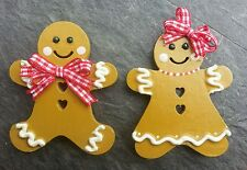 2 Gingerbreadman & lady Fridge Magnets.Any colour Gingham.6cms..MESSAGE COLOUR