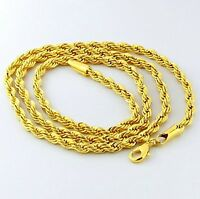 "3mm ROPE CHAINS – PVD BONDED 18K GOLD – 16, 18, 20, 24, 30, 32"" For MEN & WOMEN"