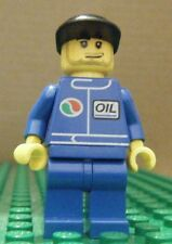 LEGO MINIFIGURE – TOWN CITY – GAS STATION – OIL – BLUE, BLACK CAP - USED