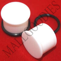 "1310 White Acrylic Single Flare 9/16"" Inch Plugs 14mm MallGoodies 1 Pair"