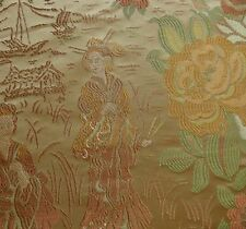 """BY YD LUSH 100%SILK LAMPAS MADAME BUTTERFLY """"BURNT AMBER"""" GOLD"""