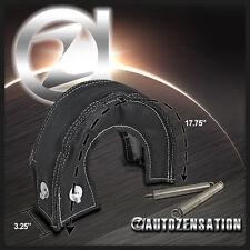T25 Black Turbo Blanket Heat Shield Turbocharger Cover Wrap w/White Stitch